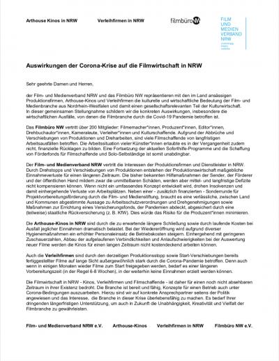 Offener Brief Der Verbände: Auswirkungen Der Corona-Krise Auf Die Filmwirtschaft In NRW